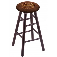 Round Cushion Dark Cherry Maple Stool with Brown Leather