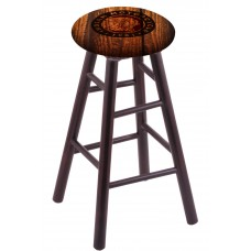 Round Cushion Dark Cherry Maple Stool with Barn Wood