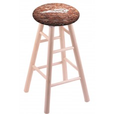 Round Cushion Natural Maple Stool with Brick Wall