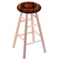 Round Cushion Natural Maple Stool with Barn Wood