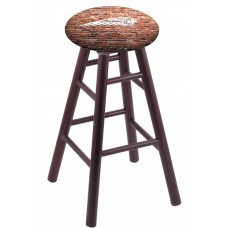 Round Cushion Dark Cherry Oak Stool with Brick Wall