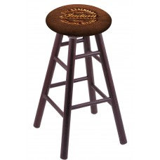 Round Cushion Dark Cherry Oak Stool with Brown Leather