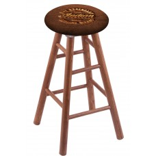 Round Cushion Medium Oak Stool with Brown Leather