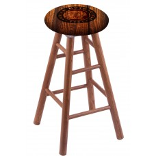Round Cushion Medium Oak Stool with Barn Wood