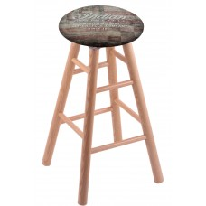 Round Cushion Natural Oak Stool with American Flag