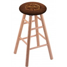Round Cushion Natural Oak Stool with Brown Leather