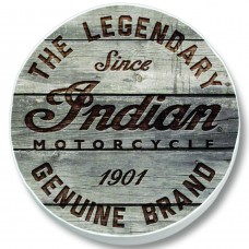 Indian Motorcycle Legendary Motto on Distressed Wood White Vinyl Tire Cover