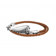 Thin Braided Black Leather Indian Headdress Double Wrap Bracelet Brown