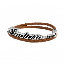 Thin Braided Black Leather Indian Script Logo Double Wrap Bracelet Brown