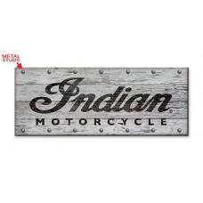 Indian Motorcycle Whitewashed Wood Slated Sign