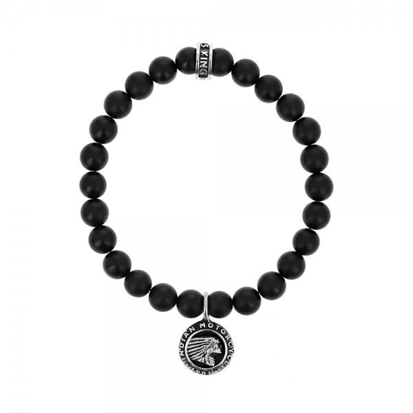 8mm Matte Onyx Beaded Bracelet W/ Indian Headdress Logo Charm