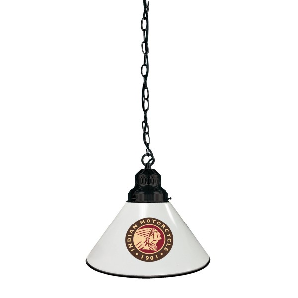Indian Motorcycle Billiard Pendant Light Black finish with White Shade