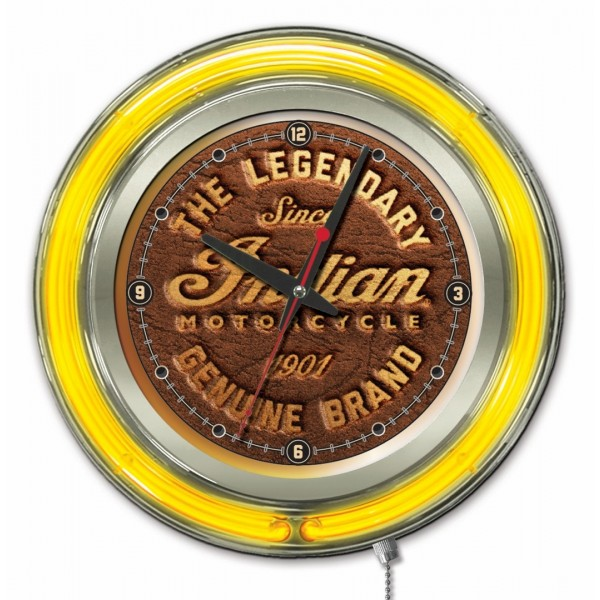 Indian Motorcycle Brown Leather Yellow Neon Clock