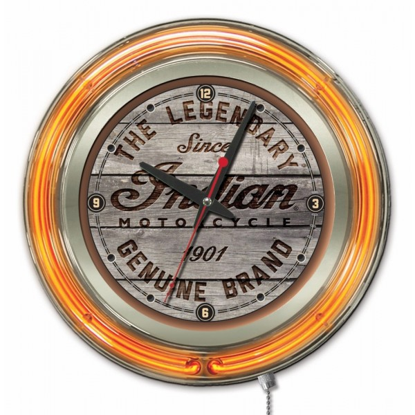 Indian Motorcycle Wood Engraved Orange Neon Clock