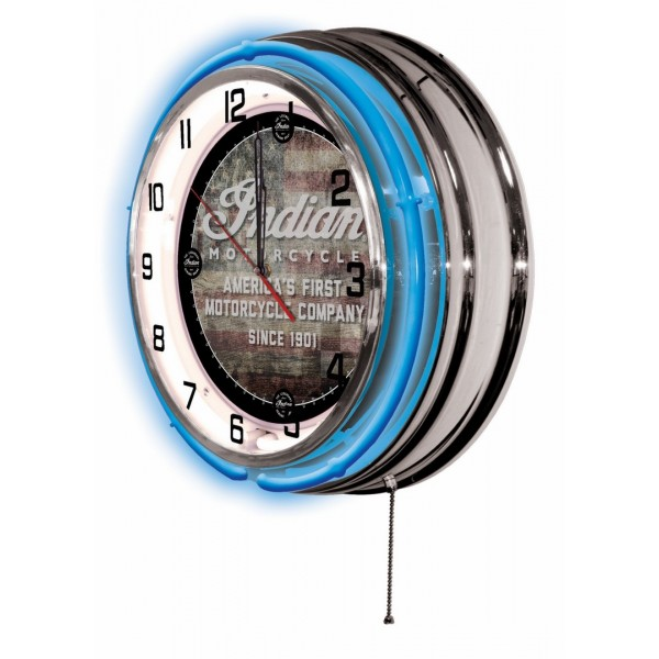 Indian Motorcycle American Flag Logo Neon Clock with Blue Neon