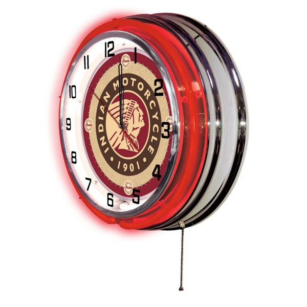 "Indian Motorcycle Head Logo 19"" Neon Clock Side View"