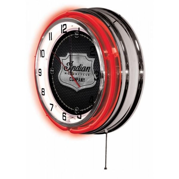 Indian Motorcycle Metal Shield Red Neon Clock