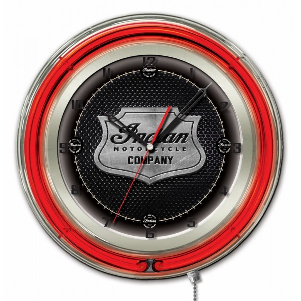 Indian Motorcycle Metal Shield Red Neon Clock