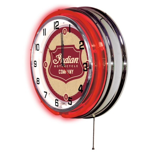 "Indian Motorcycle Shield Logo 19"" Neon Clock Side View"