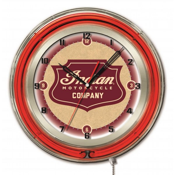 "Indian Motorcycle Shield Logo 19"" Neon Clock"
