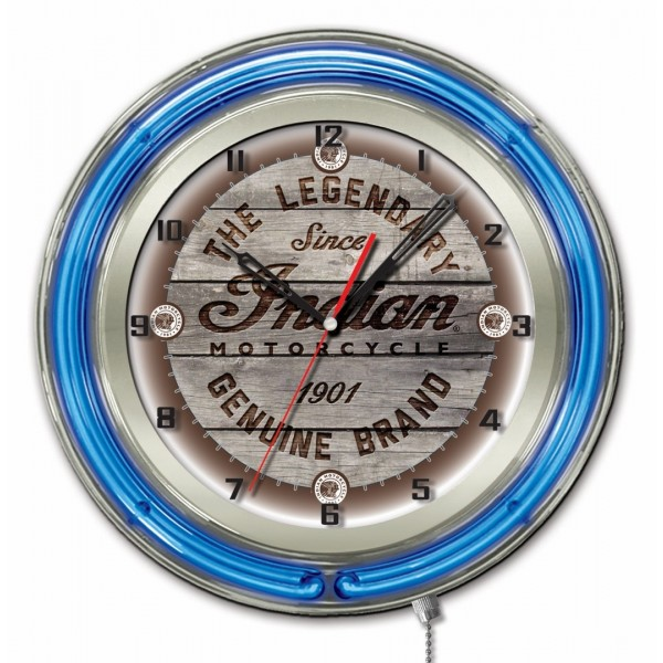 Indian Motorcycle Wood Engraved Blue Neon Clock