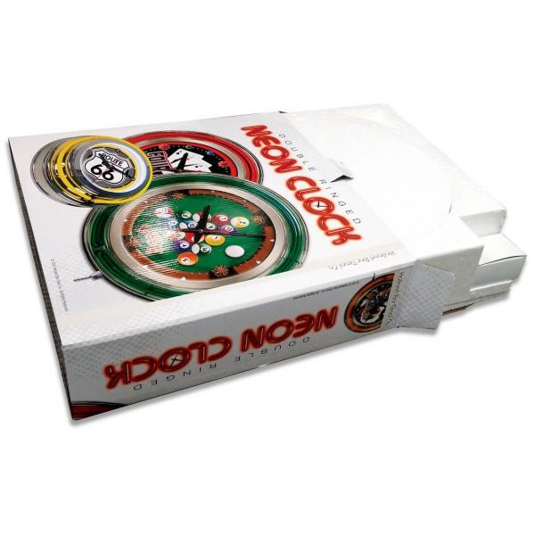 Indian Motorcycle Head Logo 15 Neon Clock Packaging