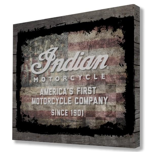Indian Motorcycle American Flag Wood Border Printed Canvas Art