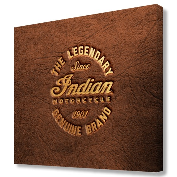 Indian Motorcycle Brown Leather Printed Canvas Art