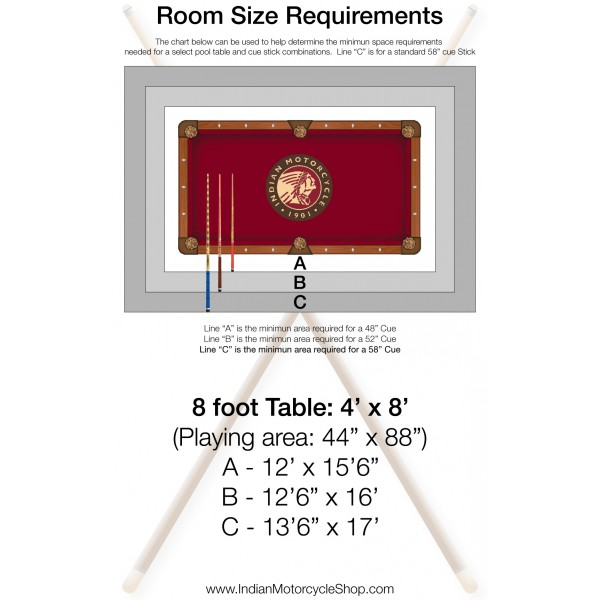 Indian Motorcycle Pool Table Room Size Requirements