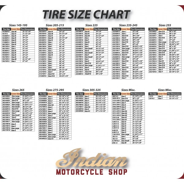 Indian Motorcycle Shop Tire Cover Size Chart