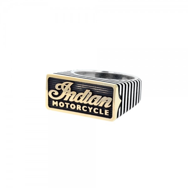 Indian Script Motor Fin Two Tone Brass and Silver Ring