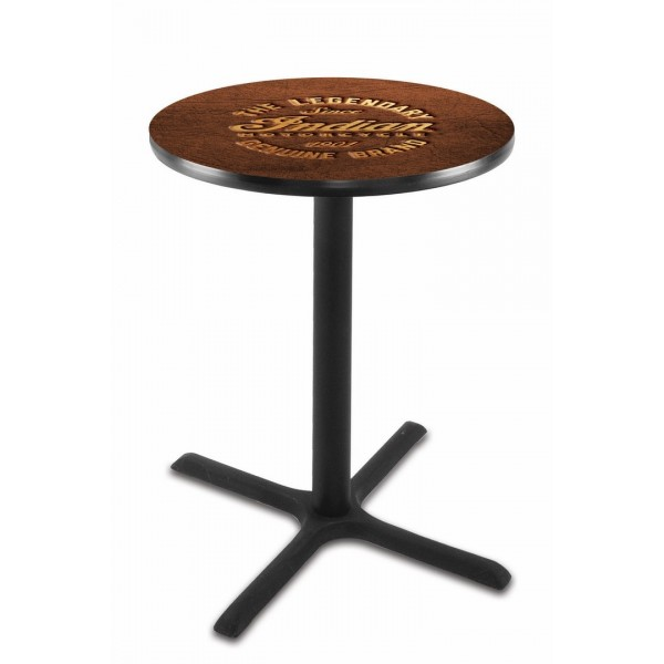Indian Motorcycle L211 Pub Table with Brown Leather