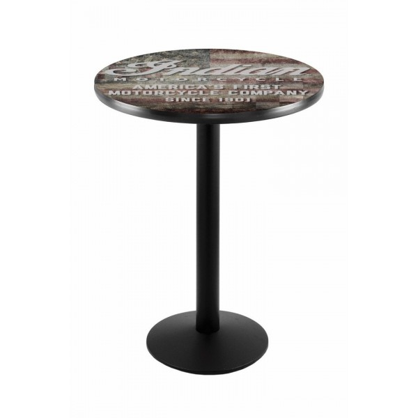 Indian Motorcycle Head Logo Black Wrinkle L214 Pub Table with American Flag