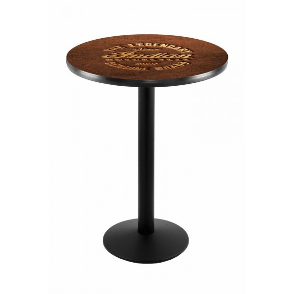 Indian Motorcycle Black Wrinkle L214 Pub Table with Brown Leather