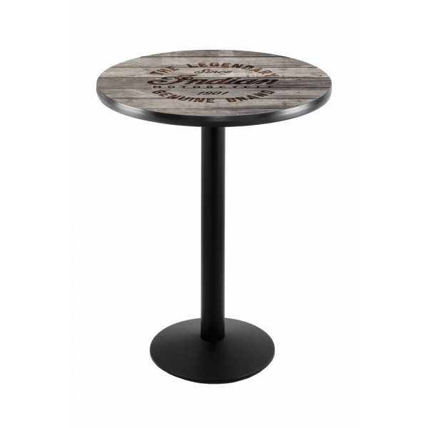 Indian Motorcycle Black Wrinkle L214 Pub Table with Engraved Wood