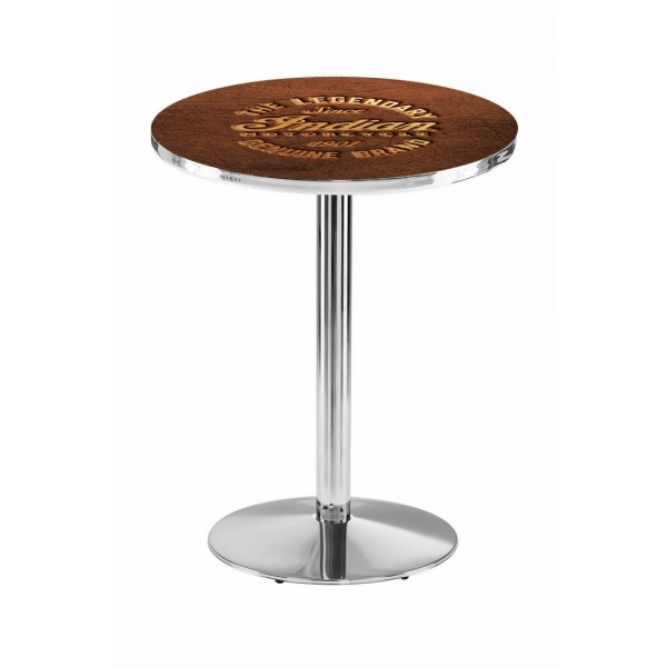 Indian Motorcycle Chrome L214 Pub Table with Brown Leather
