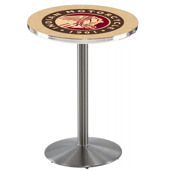 Indian Motorcycle Head Logo Stainless Steel L214 Pub Table