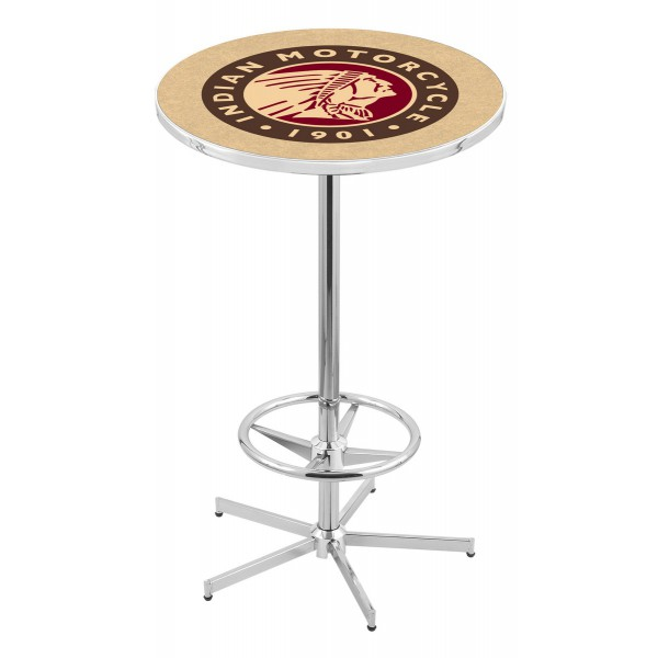 Indian Motorcycle Head Logo Chrome L216 Pub Table