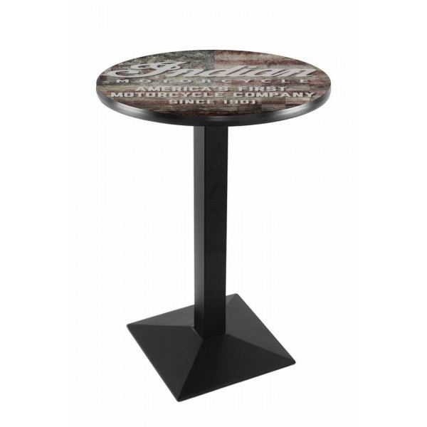 Indian Motorcycle Head Logo Black Wrinkle L217 Pub Table with American Flag