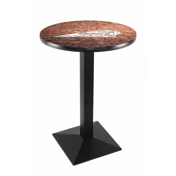 Indian Motorcycle Head Logo Black Wrinkle L217 Pub Table with Brick Wall