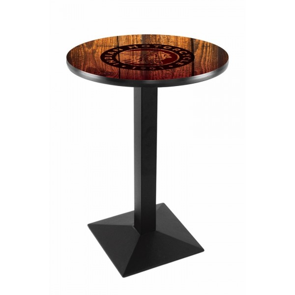Indian Motorcycle Head Logo Black Wrinkle L217 Pub Table with Barn Wood
