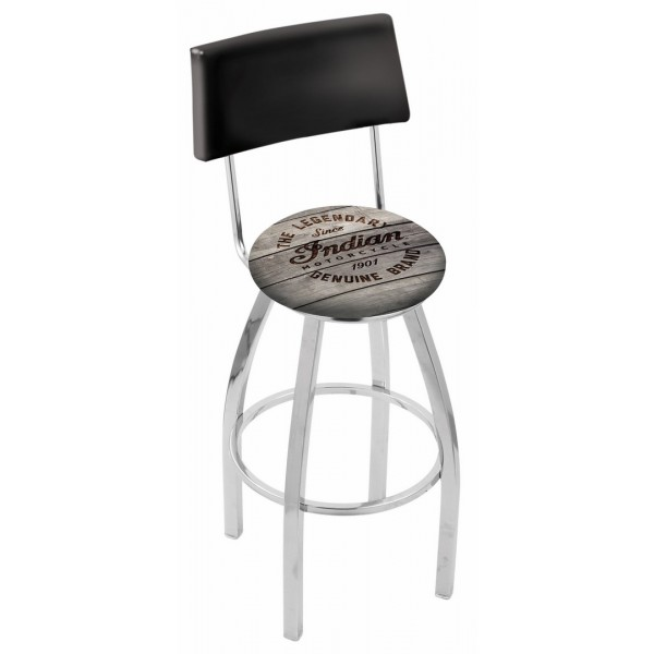 Indian Motorcycle L8C4 Bar Stool with Engraved Wood