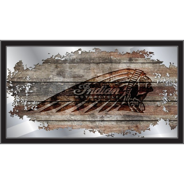 Indian Motorcycle Collectors Mirror with distrressed Flag Barn Wood and Indian Headdress