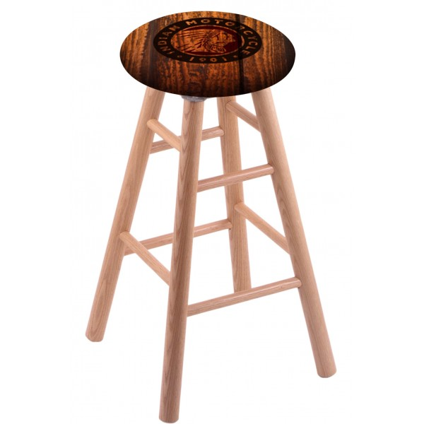 Round Cushion Natural Oak Stool with Barn Wood