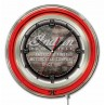 Indian Motorcycle American Flag Logo Neon Clock with Red Neon